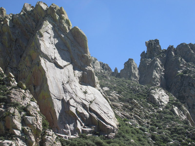 The Tooth and Squaretop. Climbers on the Tooth Fairy.