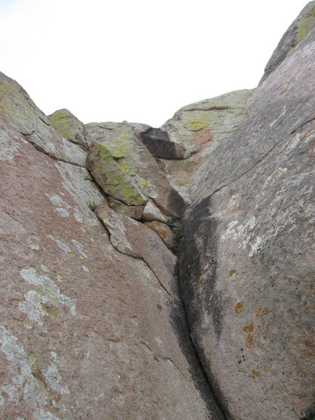Top part of the gully section of the climb, start of our Pitch 3. The rock here is quite slick and not having a rope drag was an advantage.