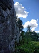 Rock Climbing Photo: Profile view of the main wall with me rappelling f...