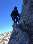 Rock Climbing Photo: Traversing to the tree belay on the fourth pitch o...
