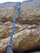 Rock Climbing Photo: The crux area.  The first piece is a #3 Camalot.
