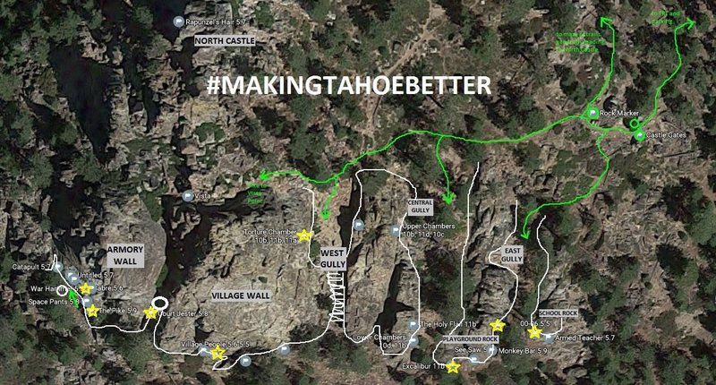 NEW MAP! Castle Rock, trails, and climbing areas. A few classics marked with stars.
