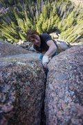 Rock Climbing Photo: Slator Aplin pulling through the crux. It will put...