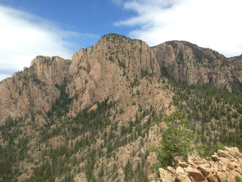 Rock Climbing Photo: Mother Mountain.  Bear Gully is left of the centra...