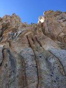 Rock Climbing Photo: Our rope winding up the east face. Leader is on th...