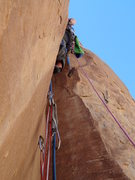 Rock Climbing Photo: Heading up the tips dihedral start of pitch 2.  Re...
