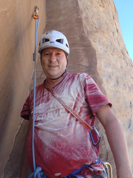 Right after drilling the belay at the top of P1 with the tips dihedral right behind me.
