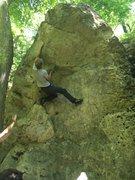Rock Climbing Photo: Chris working through the roof.