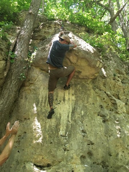 Rock Climbing Photo: Lucas searching for the victory jug!