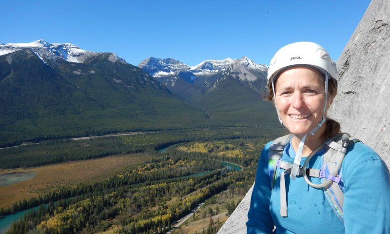Brenda at a belay station midway up Aftonroe in Banff, Canada  Sept 2016.  A fantastic climb from start to finish.