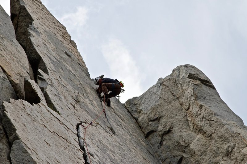 Rock Climbing Photo: At the crux of Wages of Skin
