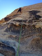 Rock Climbing Photo: Jenn on holds to hollywood