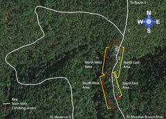 Rock Climbing Photo: Area Subdivision Map and trails