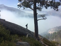 Rock Climbing Photo: Base of Half Dome/Snake Dike with smoke from the v...