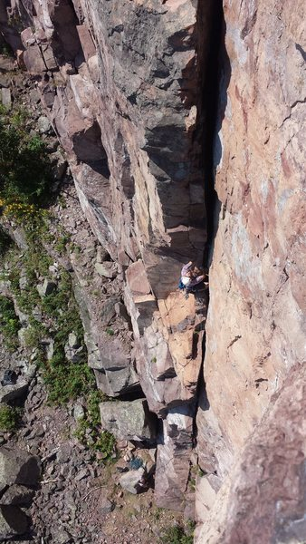 Rock Climbing Photo: Leading Quetico Crack!