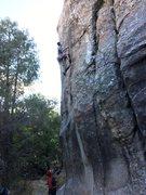 Rock Climbing Photo: Double flake above crux