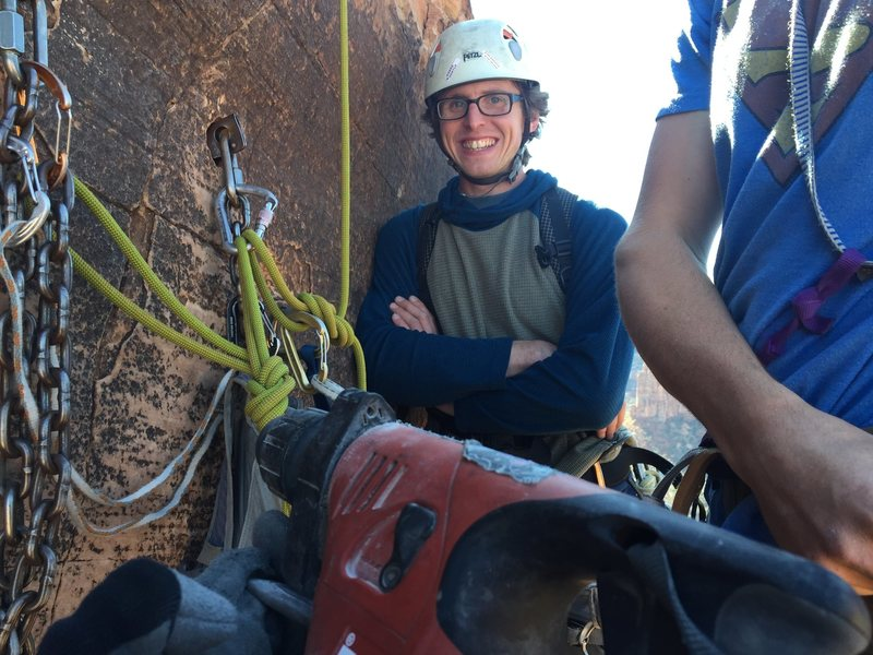 Power drill for bolt replacement by permit of Colorado National Monument.