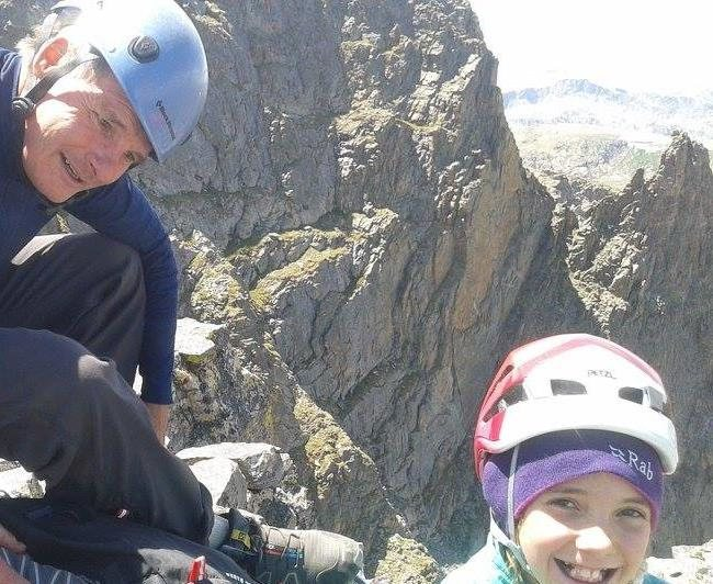11 year old Katie Kelble on the summit with a proud dad.