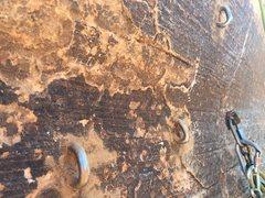 Rock Climbing Photo: New bolts at top anchor.