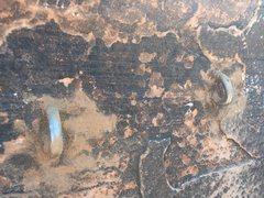 Rock Climbing Photo: Closeup of new bolts at top anchor.