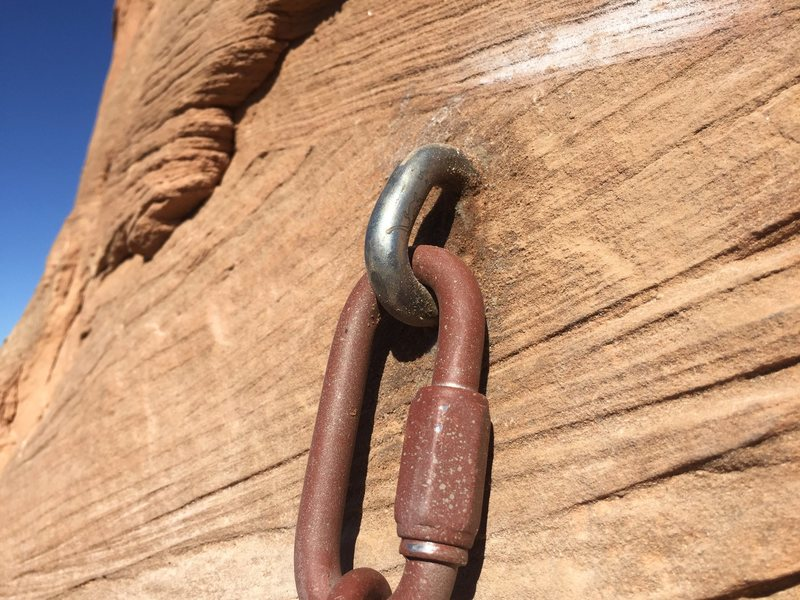 Closeup of bolt on new 3rd pitch anchor.