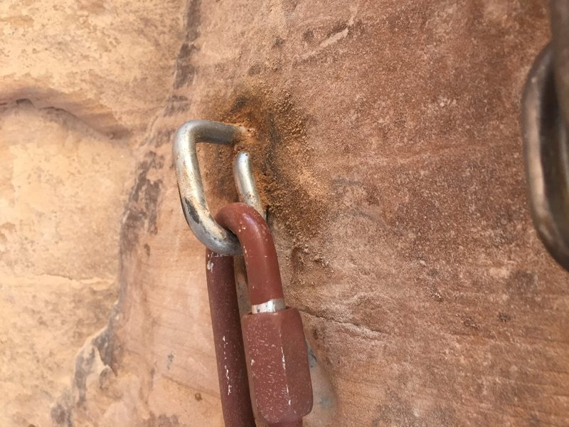 Rock Climbing Photo: New middle bolt of 2nd pitch anchor.