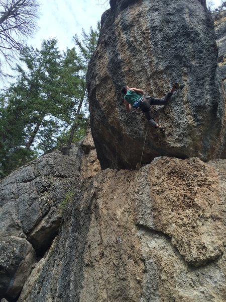 Dylan attempting Les Rocks! 5.12c on Circus Wall in Ten Sleep Canyon.