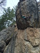 Rock Climbing Photo: Dylan attempting Les Rocks! 5.12c on Circus Wall i...