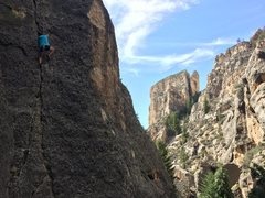 Rock Climbing Photo: Abigail on Ice Station Zebra 5.10c in Ten Sleep Ca...