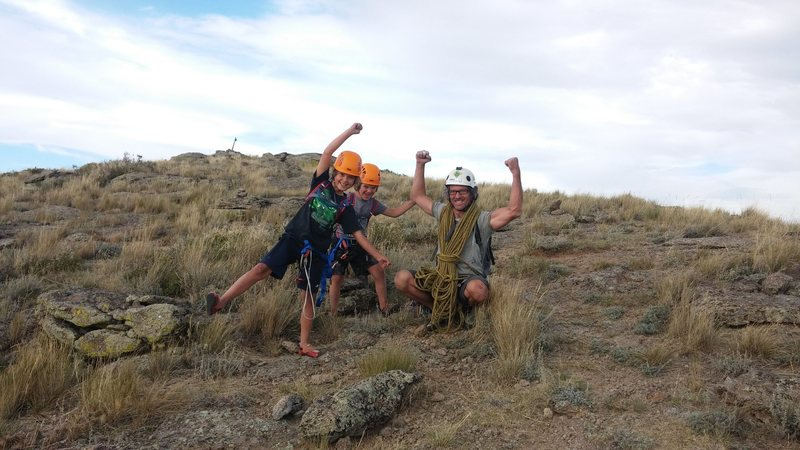 Rock Climbing Photo: Proud Paul (8), Kane (6) and dad at the summit, Bo...