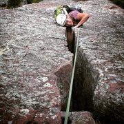 Rock Climbing Photo: Goofing around trying to make the wide part look h...