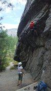 Rock Climbing Photo: Leading Steppenruf. A fun but short route that goe...