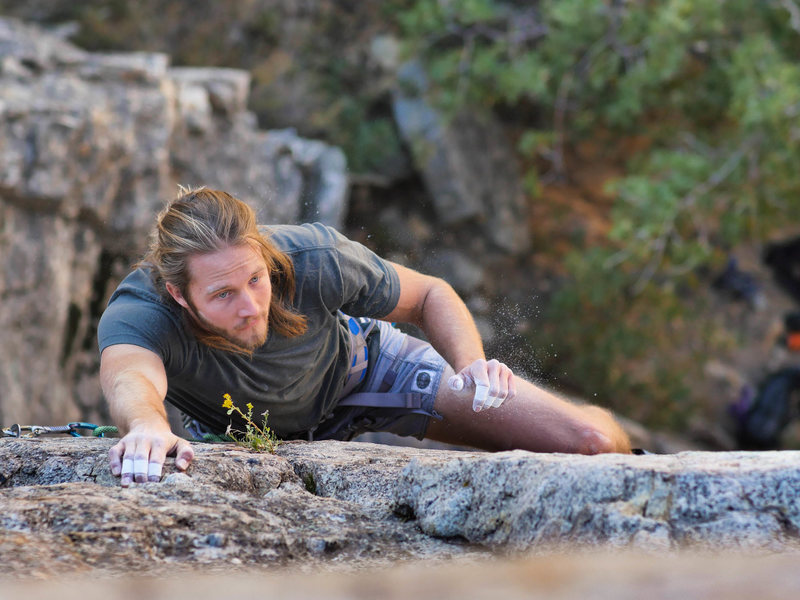 Rock Climbing Photo: About to pass the last bolt before placing protect...