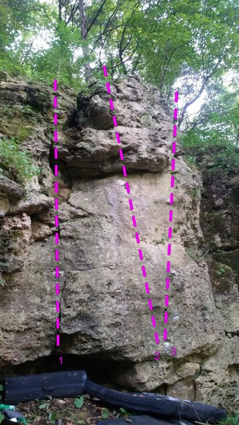 Rock Climbing Photo: Front side view of Morell Boulder. 1 = On the Prow...