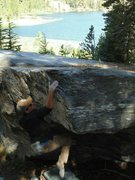 Rock Climbing Photo: Sticking the committing hold below the finish.
