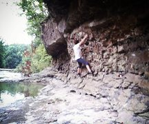 Rock Climbing Photo: 1/2 Pint working her way around the bulge of The L...