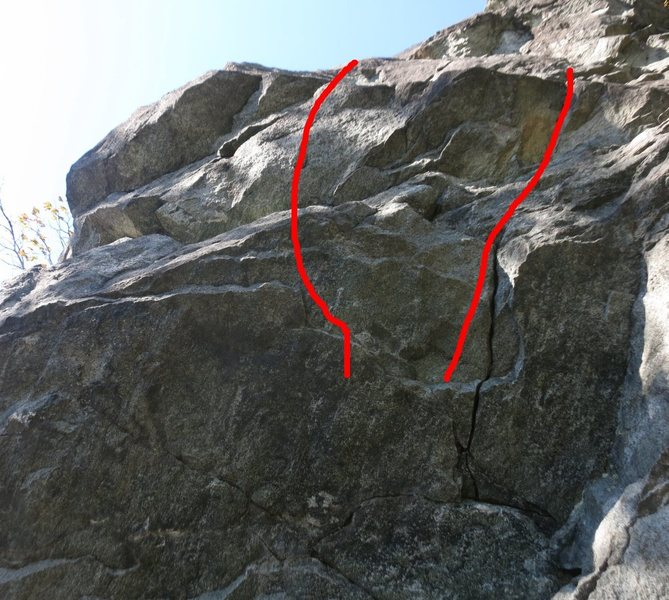 5.10b (left) and 5.9 (right) alternate starts.  These are 6-8' left of the regular start.