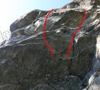 Rock Climbing Photo: 5.10b (left) and 5.9 (right) alternate starts.  Th...