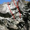 3 more 10- variations left of the route.  These can be top-roped off the Swerve anchor with minimal swing danger by placing the rope carefully.  Watch for rope abrasion against rock if falling a lot.  The middle one is the hardest and has some unavoidable swing danger.