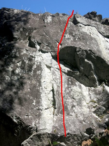 The farthest left 5.10 variation that can be reasonably top-roped off the Swerve anchor.  This one is ~10a and has some swing potential to the right.