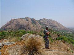 Rock Climbing Photo: At the top, with the 1200 ft high Savandurga Hill ...