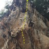 Muay Thai route- start on the ledge above the beach.