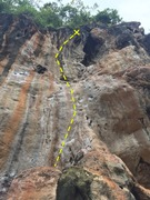 Rock Climbing Photo: Start on Massage the Rock, step left, and continue...