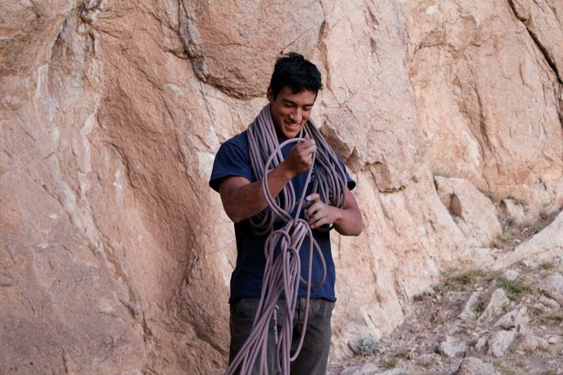 Adrian working on his rope management