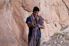 Rock Climbing Photo: Adrian working on his rope management