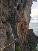The fixed line to the belay ledge from which you'll start this route