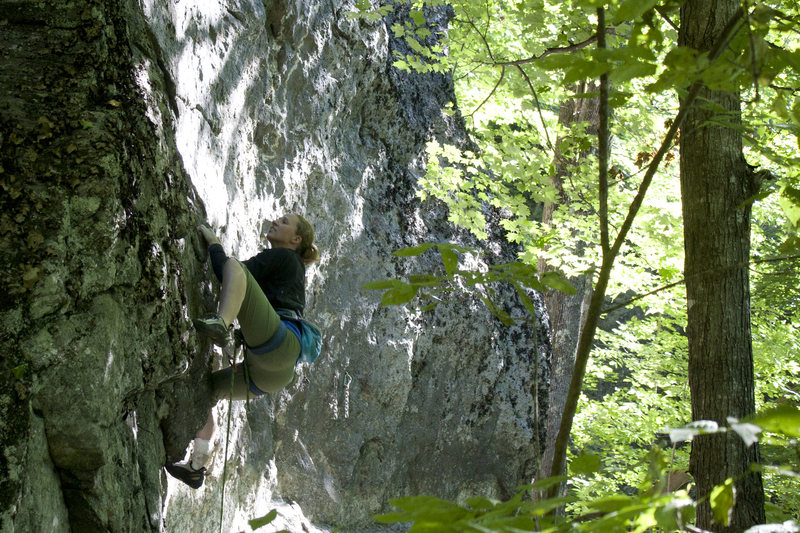 Rock Climbing Photo: Torie getting ready to pull on to the slabby finis...