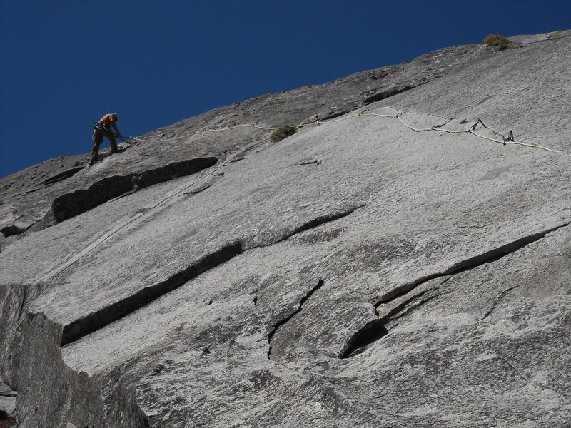 Gary Talavera at the belay, after leading the second pitch.  Don't let this photo fool you, it is long, thin and strenuous.  GT did a great job.  This particular weekend some buffoons left a bunch of fixed lines strung all over various parts of this route and Tree Route, please ignore.