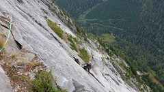 Rock Climbing Photo: Shane coming up the wide section on P19. If it loo...