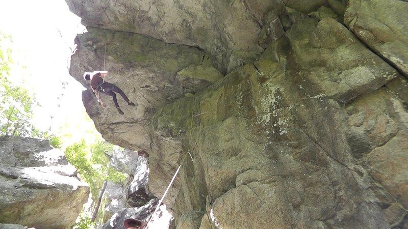 11d roof crack at an hidden crag near Chapel Pond, Adirondacks